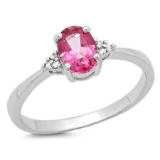 & White Diamond Promise Engagement Ring 1.13 Ct Sterling Silver Pink Topaz