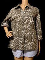 womens Karen Scott blouse sleeve 3/4 green and white size M .