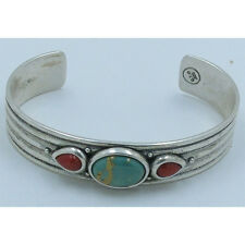 5 Stack .925 Sterling Silver Natural Green Turquoise Red Coral Cuff Bracelet