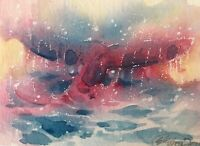 ACEO Original painting whale Ocean Sea Waves Art Listed By Artist American USA