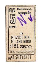 BIGLIETTO TICKET EDMONSON  FERROVIE  NORD ABBONAMENTO  BOVISIO  MILANO 11-1-1982