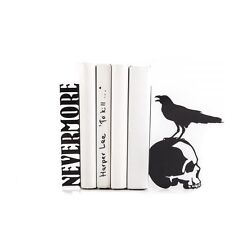 Atelier Article - Gift Steel bookends - The Raven on skull Nevermore - (Black)