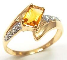 HOT 10KT YELLOW GOLD NATURAL CITRINE & DIAMOND RING SIZE 7   R988