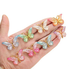 10X Colorful Plastic Butterfly Charms Cabochons DIY Jewelry Accessories Findings