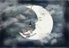 "nice oil painting handpainted on canvas ""a boy reading book on the moon ""NO405"