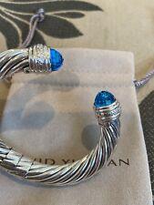 David Yurman Sterling Silver Topaz and DIAMONDS 10MM Cable Bracelet