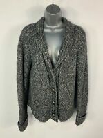 WOMENS PER UNA M&S SIZE LARGE GREY MARL CHUNKY KNITTED CARDIGAN JUMPER SWEATER