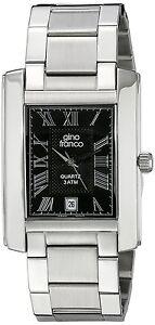 Gino Franco Men's Analog Quartz Rectangle Stainless Steel Bracelet Watch