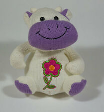 KIDS OF AMERICA CORP  PURPLE & WHITE PLUSH COW PINK FLOWER KNITTED