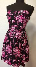 Betsey Johnson Black Pink Floral Stretch Fit Flare Strapless Party Dress Sz 10