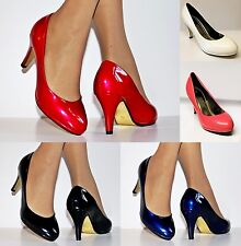 Ladies Patent Mid Heel Evening Party Casual Platform Court Shoes Pumps Size/9161