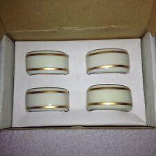 Set of 4 Gorham Porcelain Napkin Rings Ivory/White w/ Gold Trim in Box