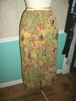 CITRON SANTA MONICA SILK CHARTREUSE PEACOCK PRINT SKIRT WIDE SMOCKING ON TOP L