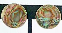 Vtg Sterling Silver Round Abalone Shell Peacock Iridescence Clip Back Earrings