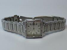 Bulova Ladies Watch 16 Diamonds Square Steel Case for 6.25 Inch Wrist - Works