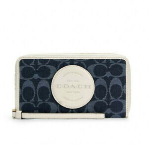 NWT Coach Dempsey Large Phone Wallet in Signature Denim with Coach Patch C4581