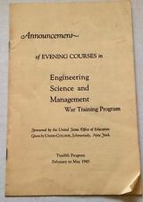 Vintage Union College Program 1945 Schenectady NY War Training Evening Course