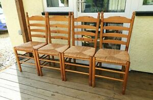 4x Solid Pine ladder back dining chairs with rush seats