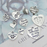 20pcs/Set Mixed Lots Jewelry Making Retro Silver Alloy Hearts Pendants Charms