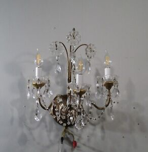 Antique Vintage Hollywood Regency Style 3 Light Wall Sconce Crystals