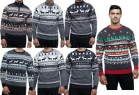 Mens Christmas Novelty Fair Isle Jumper 1/4 Zip Crew Neck Nordic Xmas Sweater