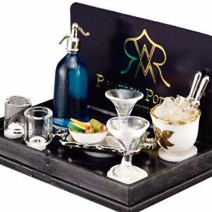 Dollhouse Bar Mixing Set 1.740/5 Ice 4 Glasses Siphon Reutter Porcelain Miniatur