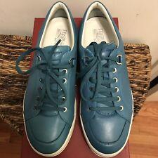 NEW Salvatore Ferragamo Men's Blue Leather Sneakers Sz 10 EEE / EUR 43