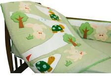 New 100% Cotton Baby Bedding Crib Boy Girl Unisex Hare Tortoise Green 3 pcs Set