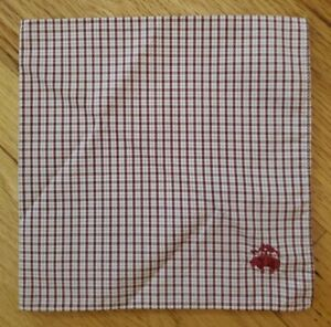 Brooks Brothers Check Pattern Cotton Pocket Square Brick Red NWOT