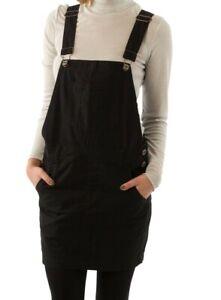 Short Oversized Black Dungaree Dress Bib overall skirt (C-BLK)