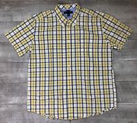 Tommy Hilfiger Men's Plaid Check Button Down Yellow Short Sleeve Shirt Sz XL