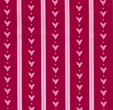 Pink Hearts and Stripes on Red Cotton Fabric by Ella Blue - FQ