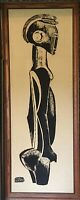 Mid-Century 1960s African Sudan Silkscreen on Linen Art Signed Framed Rare