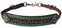 Showman Gold Metallic Print Leather Wither Strap w/ Teal Accent