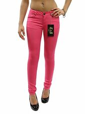 "New Hot Pink Casual Zipper & 5 Pockets Skinny Pants Size 7 Waist 29"" JCQ1000"