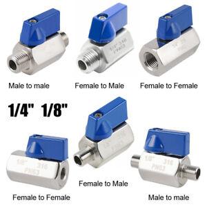 "PN316 Stainless Steel MINI 1/8"" 1/4'' Ball Valve Ball Valve Male to Female"