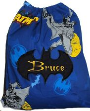 Personalised drawstring library bag - Batman in action