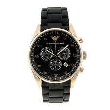 New Emporio Armani AR5905 Black Gold Chronograph Dial Designer Watch - UK Seller