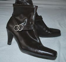 """Etienne Aigner BOCCI Chocolate Brown buckle ankle boots 3"""" heels 8.5M FREE SHIP"""