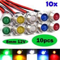 10pack 12V 8mm LED mit Halter und 20cm Kabel Leuchtdiode Leuchtdioden Fassung DE