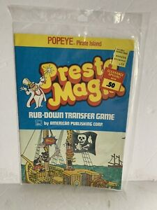 POPEYE -Pirate Island -PRESTO MAGIX- Rub-Down Transfer Game MIP 1980