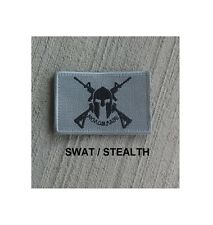 Morale Patch SOG MOLON LABE Crossed Rifles w/ Helmet Nylon SWAT Stealth