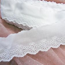 Lovely Mini Ribbon Cotton Eyelet Lace Trim  White  2.2 Inch(5.5cm) Wide 5Yards
