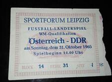 Ticket 31.10.1965 DDR Österreich WM Qualifikation Länderspiel Eintrittskarte