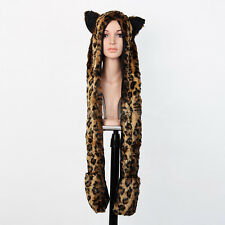 Animal Warm Leopard Faux Fur Hat Fluffy Plush Cap Hood Scarf Shawl Glove Zipper