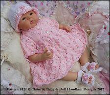 "BABYDOLL HANDKNIT DESIGNS KNITTING PATTERN F127 DRESS SET 16-22"" DOLL 0-3M BABY"