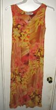 Jams World Splash Orange Brown Yellow Floral Sleeveless Sundress Dress S