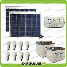 Kit solare illuminazione 5 ore pannelli 100W 24V 8 lampade LED 7W stalla baita L