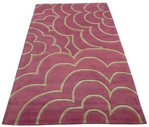 Alfombra Oriental Rosa 100% Lana Mechones Insertados a Mano 150x240 CM D113