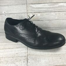 Rockport Mens Almartin Oxford Dress Shoes Black Almond Toe Leather Wingtip 11.5M
